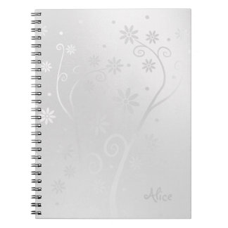 Personalizable Cute Blooming Silver Flowers Spiral Notebooks
