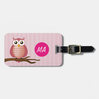Personalizable Cute Girly Owl | Luggage Tag