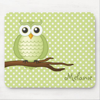 Personalizable Cute Green Wise Owl | Mousepad