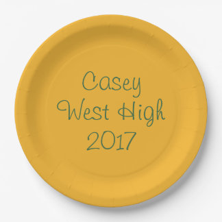 Personalizable Graduation Plate in Green & Gold