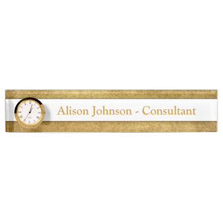 Personalizable Graphic Gold Desk Name Plate