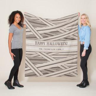 Personalizable Halloween Mummy Stripes Family Name Fleece Blanket