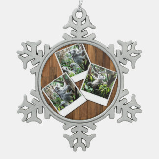 Personalizable Instant Multi Photo Frame Snowflake Pewter Christmas Ornament