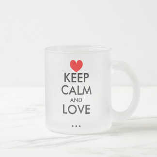 Personalizable Keep Calm love glass mug with heart