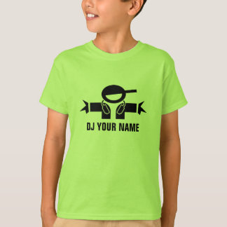 Personalizable lime green DJ t shirt for kids