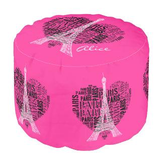 Personalizable Love Paris Round Pouffe