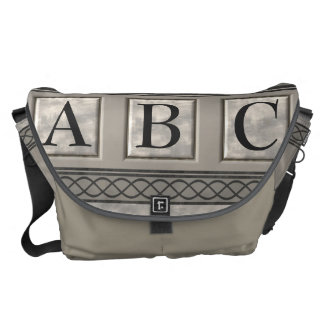 Personalizable Marble Monogram Courier Bag