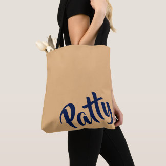 Personalizable PATTY Tote Bag=Camel/Navy