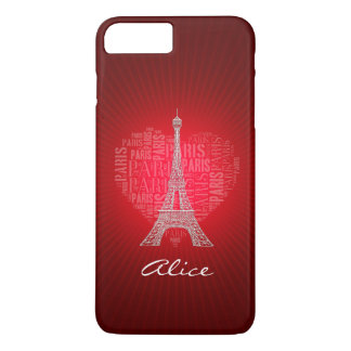 Personalizable Red Love Paris iPhone 8 Plus/7 Plus Case