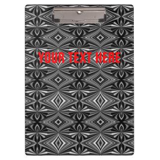Personalizable Stylish Black White Silver Pattern Clipboard