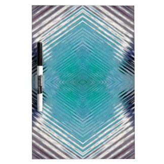 Personalizable Teal Black Optical Blur Illusion Dry-Erase Whiteboard