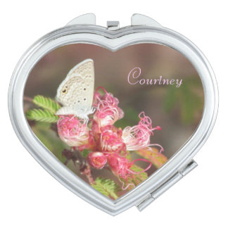 Personalizable Tiny Butterfly on Pink Flower Makeup Mirror