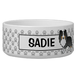 Personalizable Tricolor Sheltie Dog And Name Dog Food Bowl