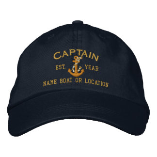Personalizable YEAR and Names Captain Rope Anchor Embroidered Hats