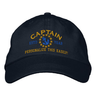 Personalizable YEAR and Names Captain Yacht Flag Embroidered Hat