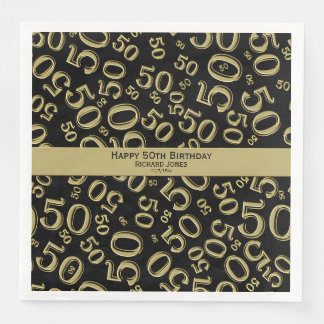 Personalize:  50th Black and Gold Birthday Party Disposable Napkins