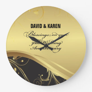 Personalize, 50th Wedding Anniversary Religious Large Clock