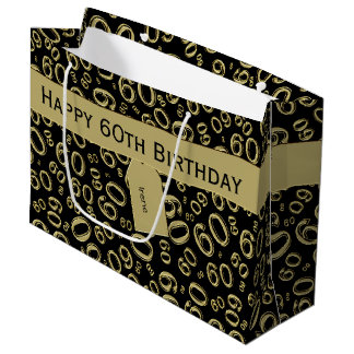 Personalize: 60th Birthday Gold/Black Theme Large Gift Bag