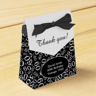Personalize: 60th Birthday Theme Black/White Favour Boxes