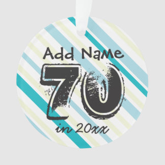 Personalize 70th Birthday Blue Green