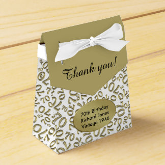 Personalize: 70th Birthday Gold/white Favour Box