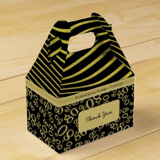Personalize:  80th Birthday Gold and Black Theme Favour Box