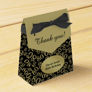 Personalize: 80th Birthday Theme Gold/Black Favour Box