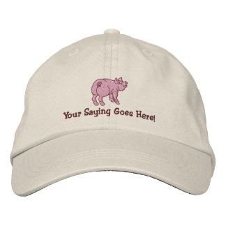 Personalize A Cute Little Pig with Your Text Baseball Cap