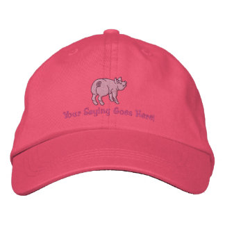 Personalize A Cute Little Pig with Your Text Embroidered Baseball Caps