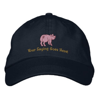 Personalize A Cute Little Pig with Your Text Embroidered Hats