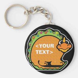 Personalize a Dinosaur, <YOUR TEXT> Basic Round Button Key Ring