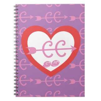 Personalize a Monogram Love Cross Country Running Spiral Notebooks