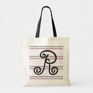 Personalize a Monogram Pink Stripes Tote Bag