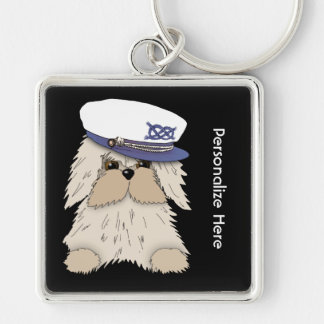 Personalize a Nautical Puppy in Captain's Hat Silver-Colored Square Key Ring