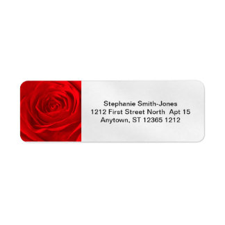 Personalize: Abstract Red Rose Floral Photography Return Address Label