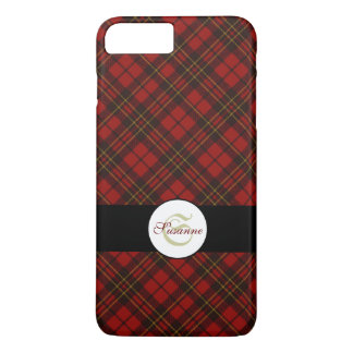Personalize Adorable Trendy Red tartan Monogram iPhone 8 Plus/7 Plus Case