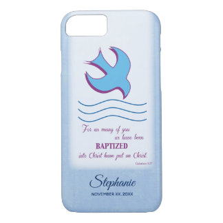 Personalize, Adult Baptism Dove on Blue iPhone 8/7 Case