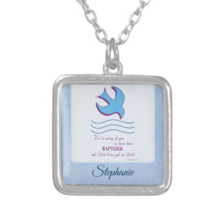 Personalize, Adult Baptism Dove on Blue Silver Plated Necklace