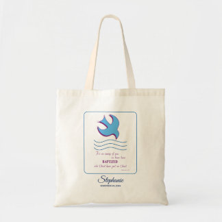 Personalize, Adult Baptism Dove on Blue Tote Bag