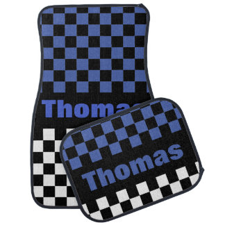 Personalize Any Color Checkered Flag Pattern Car Mat