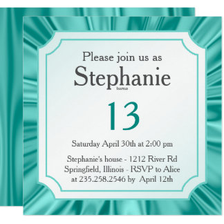 Personalize:   Any Occasion, Faux Aqua Satin Look Card