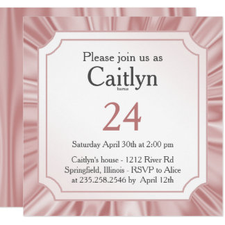 Personalize:  Any Occasion, Faux Girly Pink Satin Card