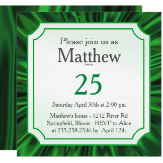 Personalize:   Any Occasion, Faux Green Satin Look Card