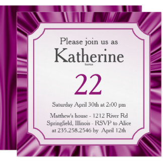 Personalize:  Any Occasion, Faux Orchid Satin Look Card