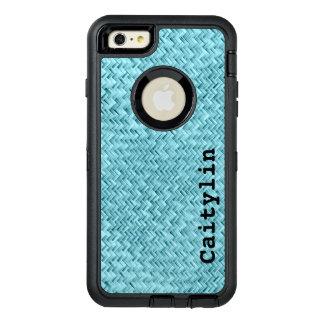 Personalize:  Aqua Faux Basket Weave Pattern OtterBox iPhone 6/6s Plus Case