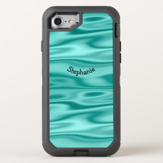Personalize Arched Name - Faux Aqua Satin Fabric OtterBox Defender iPhone 8/7 Case