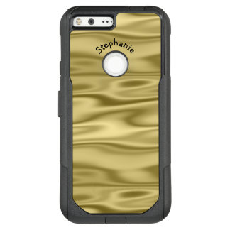 Personalize Arched Name - Faux Gold Satin Fabric OtterBox Commuter Google Pixel XL Case