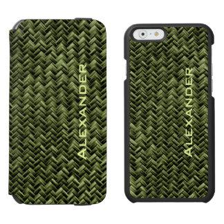 Personalize:  Army Green Faux Basket Weave Pattern Incipio Watson™ iPhone 6 Wallet Case