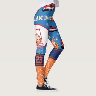 PERSONALIZE ATHLETE NUMBER Basketball Pattern Leggings