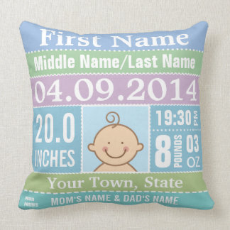 Personalize Baby Boy Birth Stats Cushions